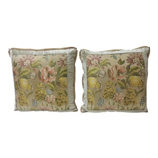 Pair of 19th Century French Silk Brocade Floral Decorative Pillows For Sale