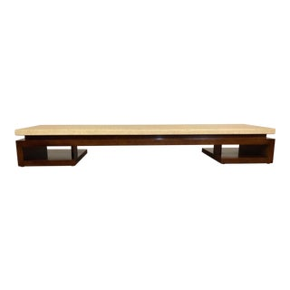 Mid Century Paul Frankl for Johnson Furniture Mahogany and Cork Low Coffee Table For Sale