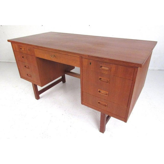 Danish Modern Teak Double Pedestal Desk For Sale - Image 11 of 11