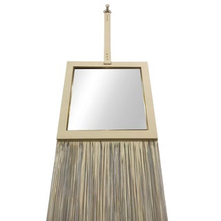 Pierre Leather Cream Wall Mirror For Sale