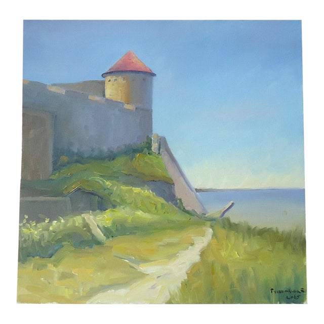 Seaside Castle Fortress Impressionist Oil Painting For Sale