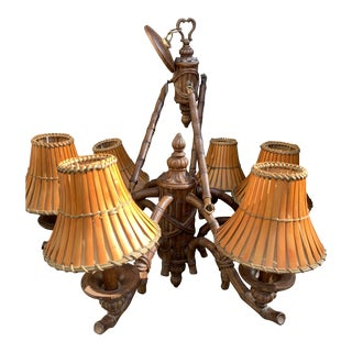 1960s Vintage Faux Bamboo Chandelier For Sale