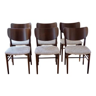 Mid-Century Danish Modern Dining Chairs Upholstered in Rose Tarlow Fabric - Set of 6 For Sale
