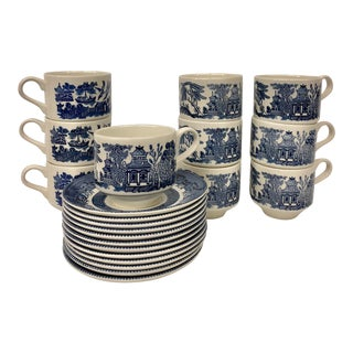 Churchill Blue Willow Cups & Saucers Set - 22 Piece Set For Sale