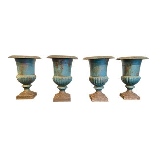 Antique French Cast Iron and Painted Urns, 19th Century For Sale