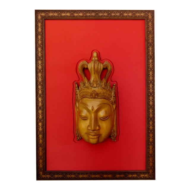 Thai Mounted Buddha Wood Carving For Sale