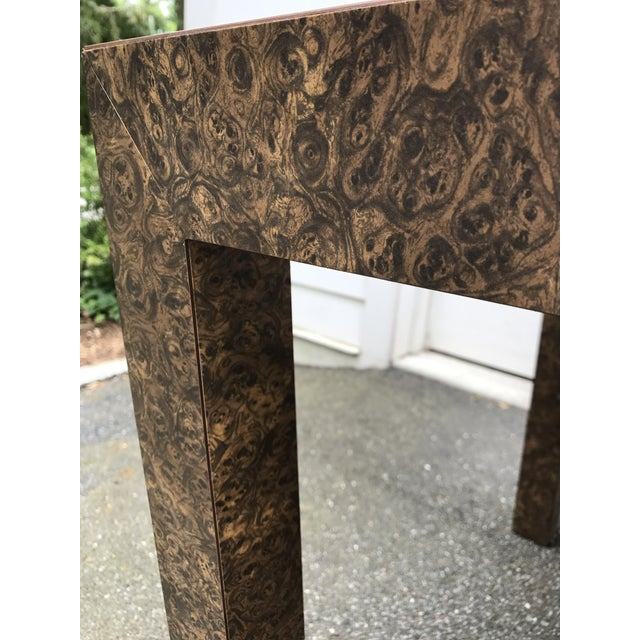 Brown Vintage Burl Wood Laminate Parsons Style Dining Table For Sale - Image 8 of 10