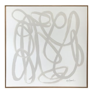 Taupe & White Abstract in Antique Gold Frame