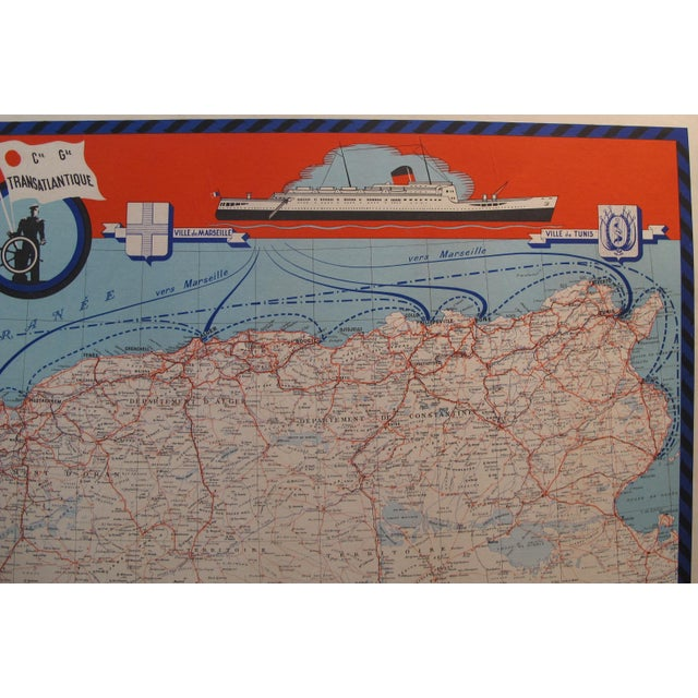 1950 Original French Maritime Map, North Africa For Sale - Image 5 of 6