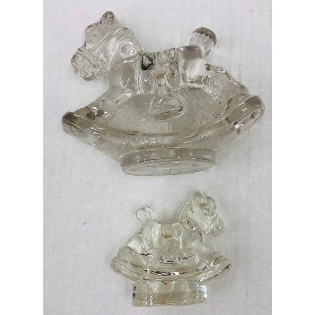 Set Vintage Glass Rocking Horse Taper Holders For Sale - Image 4 of 5