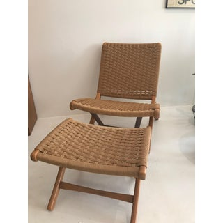Vintage Mid-Century Hans Wegner Style Japanese Folding Rope Chair & Ottoman - 2 Pieces Preview