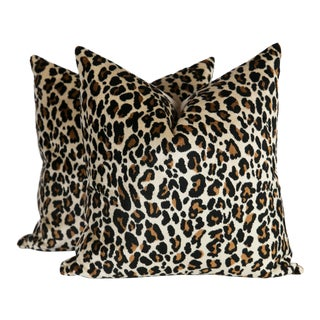 Velvet Onyx Nairobi Leopard Pillows, a Pair For Sale