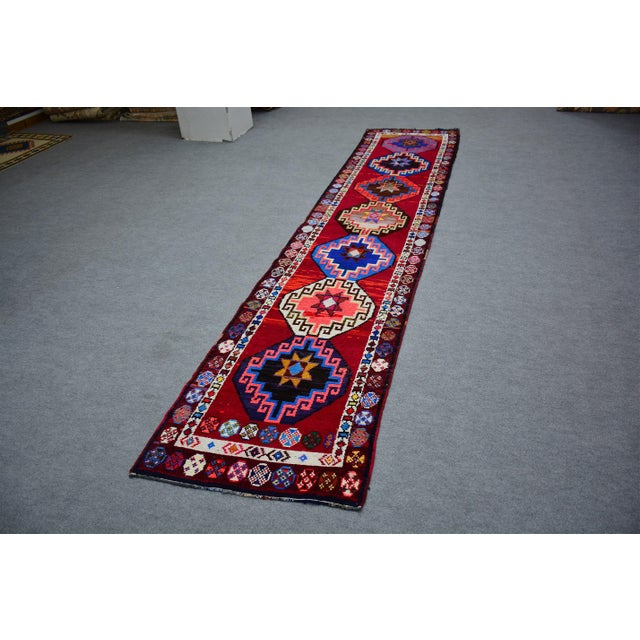 1970s Kurdish Colorful Hand-Knotted Wool Runner Rug For Sale - Image 5 of 9