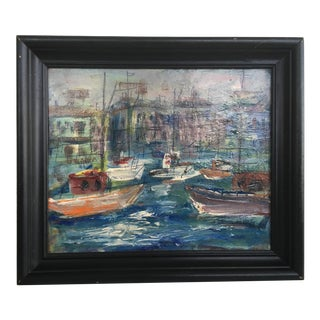Mid-Century Harbor Mixed Media Painting For Sale