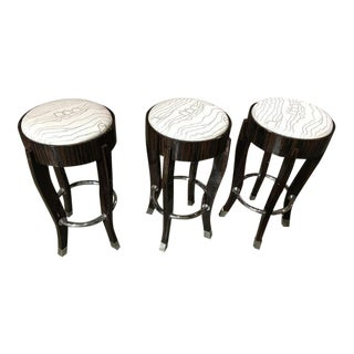 Stunning Set of Three Zebra Wood and Chrome Bar Stools For Sale