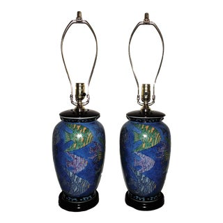 Late 20th Century Blue Fishing Aquarium Table Lamps - a Pair For Sale