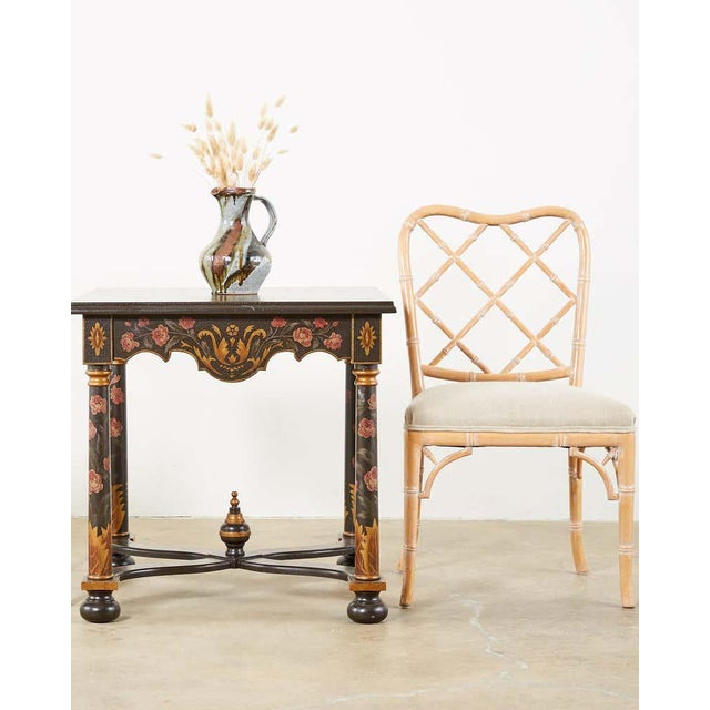Distinctive set of three dining chairs featuring handcrafted faux-bamboo frames. Made in the Chinese Chippendale taste...