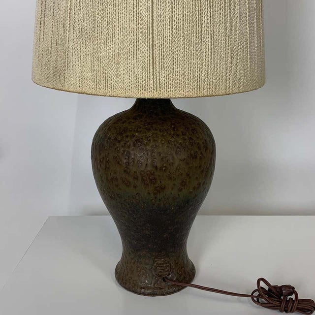 Mid 20th Century Signed Lee Rosen Design Technics Textured Glaze Ceramic Lamp with Original Shade For Sale - Image 5 of 8