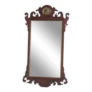 Henkel Harris Chippendale Mahogany Mirror with Beveled Glass For Sale