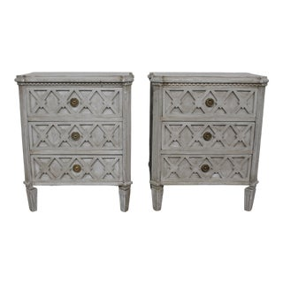 20th Century Vintage Swedish Gustavian Style Diamond-Front Nightstands - a Pair For Sale