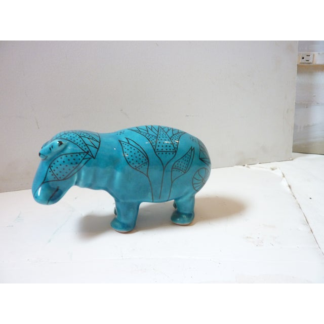Vintage Faience Hippo Figurine For Sale In Portland, ME - Image 6 of 6