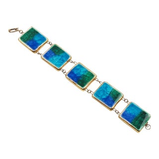 Bitossi Italian Mid Century Modern Turquoise Blue Fused Glass Ceramic Link Bracelet For Sale