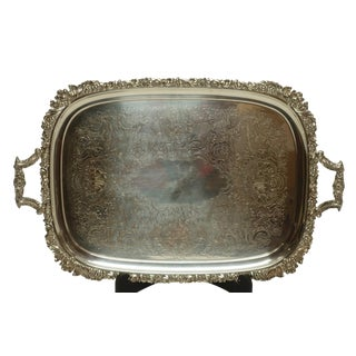 Large English Silverplated Tray by Ellis Barker C. 1912 For Sale