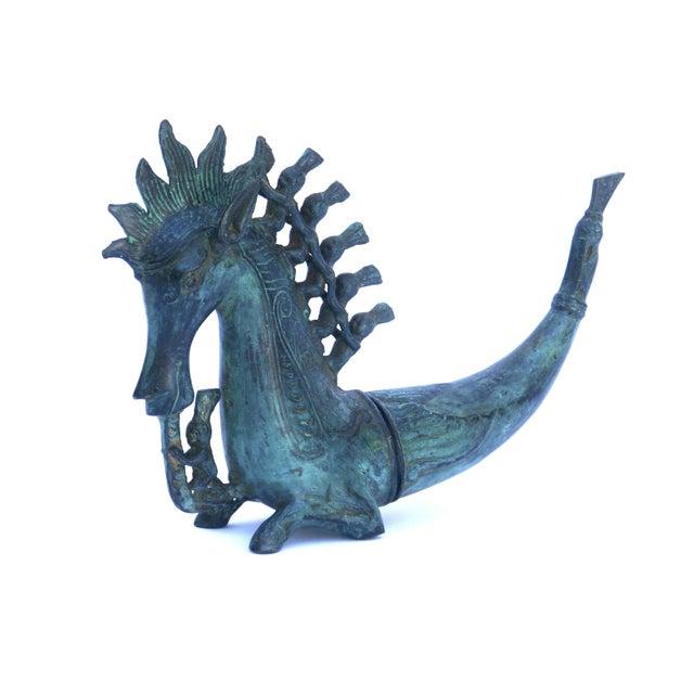 "This unusual bronze ""Aquahorse"" figurine is of original Balinese design. It was handmade by skilled craftsmen in Java,..."