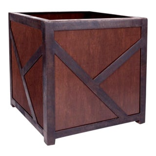 Huge Iron & Walnut Planter Designed for the Ritz Carlton 1 of 2 For Sale