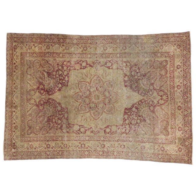 Art Nouveau Antique Turkish Hereke Rug with Art Nouveau Style in Muted Colors For Sale - Image 3 of 5