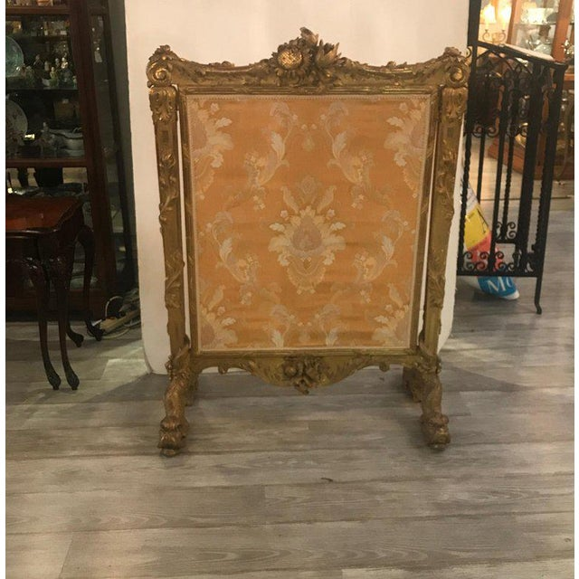 Yellow Antique Louis XV Style French Fire Screen For Sale - Image 8 of 13