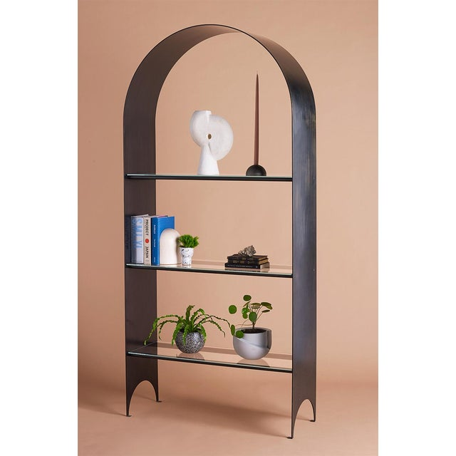 Kin & Company Thin Shelves Single in Contemporary Blackened Steel and Starfire Glass For Sale - Image 4 of 7