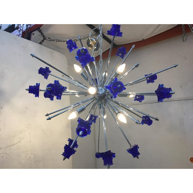 Early 21st Century Blue Crystal Glass and Chrome Sputnik Chandelier For Sale - Image 5 of 13