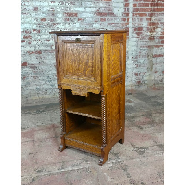 Antique Victorian Oak Cabinet W/Hidden Jewelry Safe -Rare For Sale In Los Angeles - Image 6 of 11