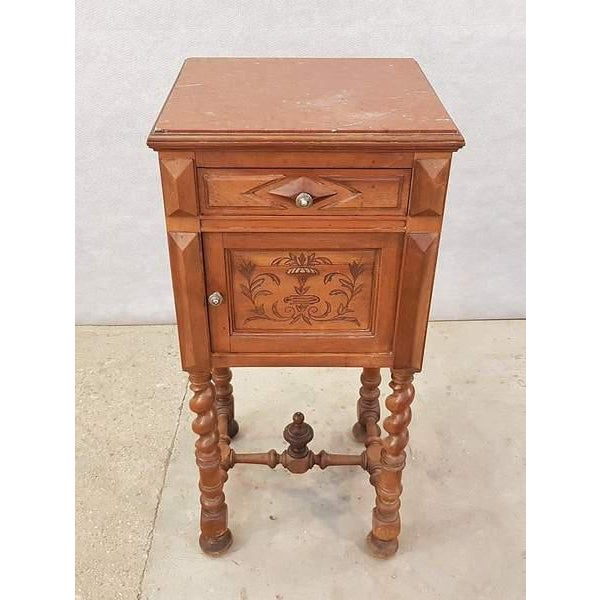 Beautiful antique personal vanity stand that can easily be used as a side table as well. It has two drawers with the...