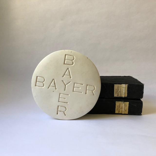 Great modern decor! A huge vintage Bayer aspirin advertising premium paperweight in the form of an oversized pill, great...
