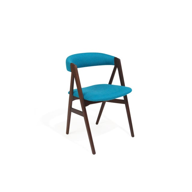 Mid Century A-Frame Danish Turquoise Wool Dining Chairs - Set of 4 For Sale In San Francisco - Image 6 of 9