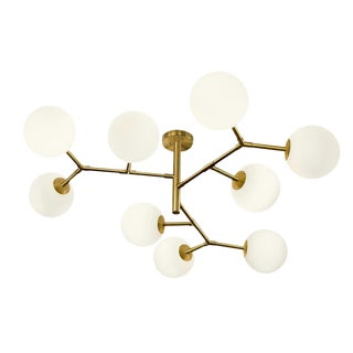 9 Arm Constellation Brushed Brass Pendant Light For Sale
