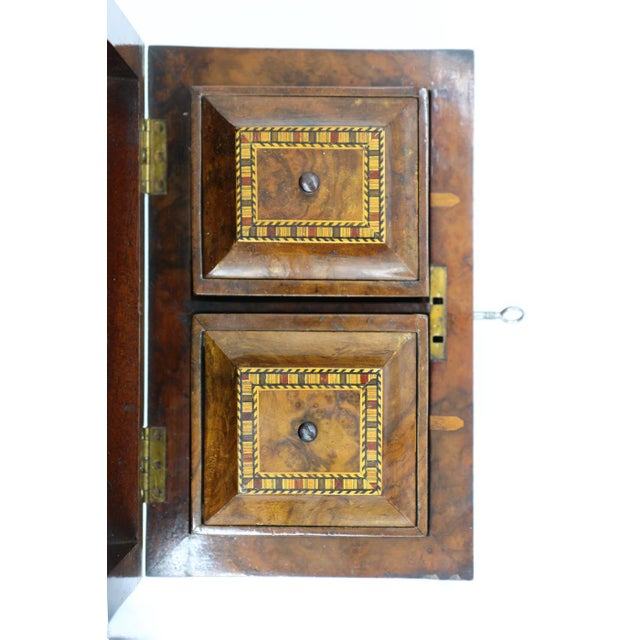 Brown Mid 19th Century Vintage English Fully-Fitted Walnut Tea Caddy For Sale - Image 8 of 10