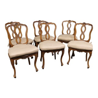 Louis XV Style Cane/Cushioned Dining Chairs For Sale