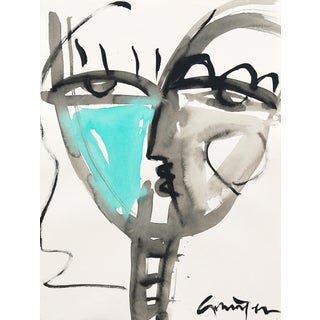 "Lesley Grainger ""Teal Babe No. 2"" Original Face Painting For Sale"