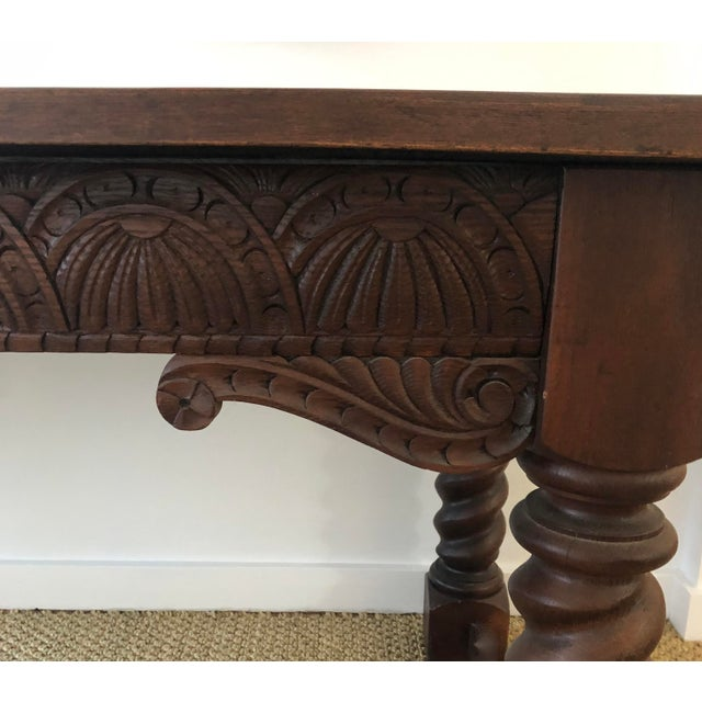Jacobean Style Carved Oak Refectory Table For Sale - Image 10 of 13