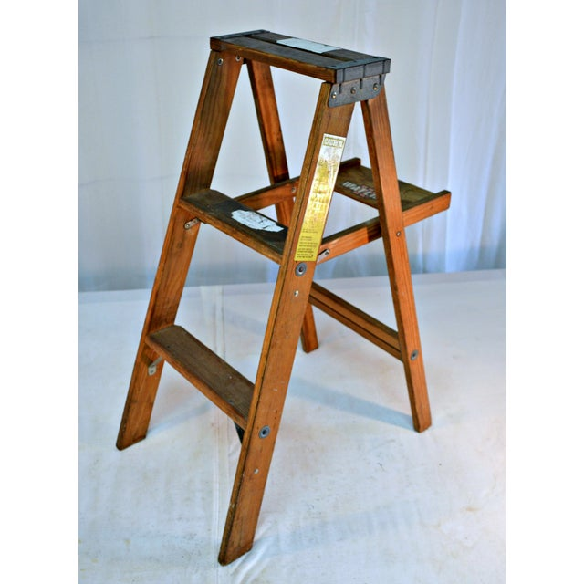 Vintage Wooden Ladder with Tool Shelf For Sale - Image 4 of 7