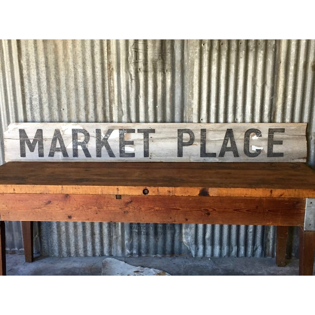 "Reclaimed Weathered Wood ""Marketplace"" Sign - Image 3 of 7"