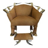Image of Antique Horn and Suede Lounge Chair & Ottoman - A Pair For Sale