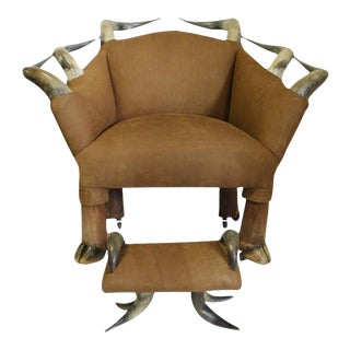 Antique Horn and Suede Lounge Chair & Ottoman - A Pair For Sale