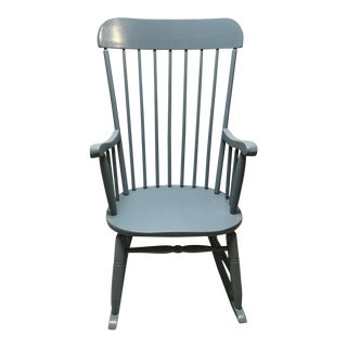 Mid 20th Century Vintage Maple Painted Spindle Porch Rocker For Sale