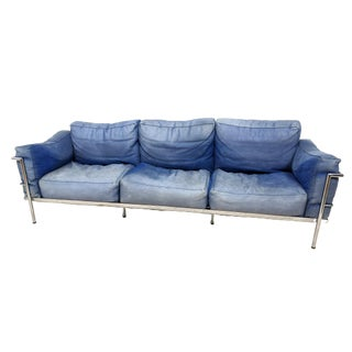 1980s Le Corbusier Lc3 Chrome Sofa in Distressed Blue Leather For Sale