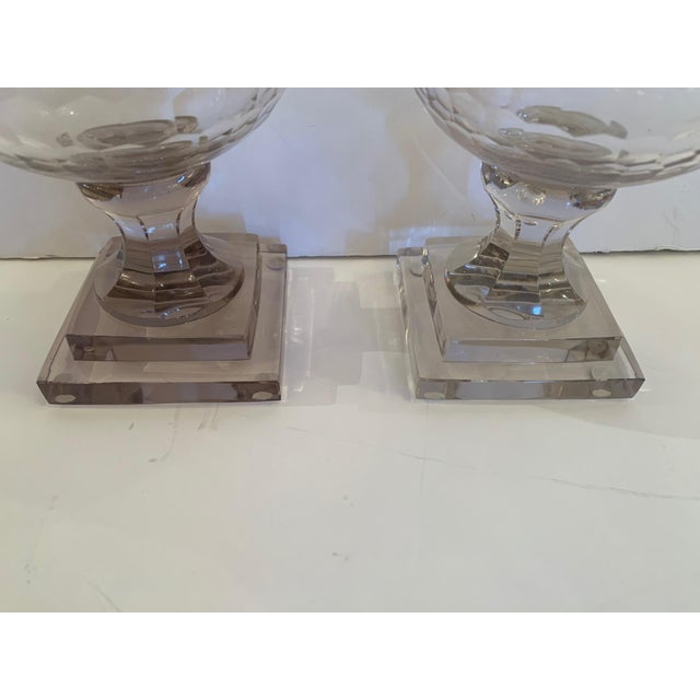 Traditional Cylindrical Cut Glass Hurricanes Candle Holders -A Pair For Sale - Image 3 of 10