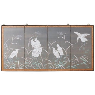 Japanese Four-Panel Screen Herons and Reeds For Sale